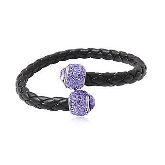 Bracelet Bangle en Cuir noir, Perles en Cristal Violet et Argent 925