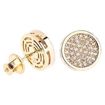 Iced out bling micro pave earrings - ROUND 10 mm gold