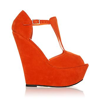 ENYA Orange Faux Suede Wedge Very High Heel Platform Peep Toes
