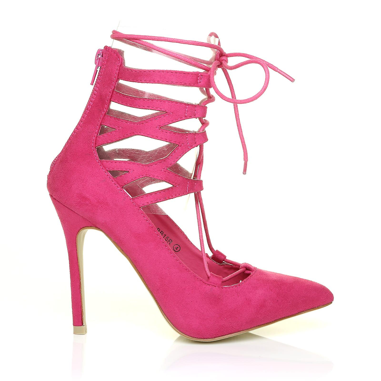 JANE Fuchsia Pink Faux Suede Ankle Lace Up Pointed Toe High Heel Shoes