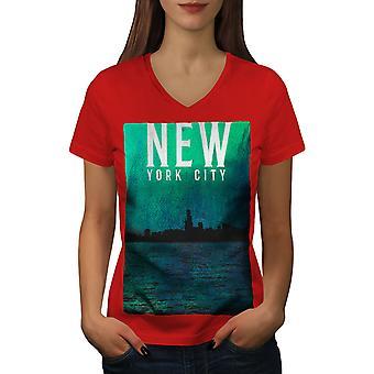 Water Urban Photo New Women RedV-Neck T-shirt   Wellcoda