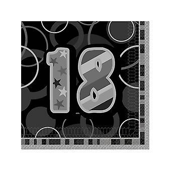 Birthday Glitz Black & Silver 18th Birthday - Luncheon Napkins