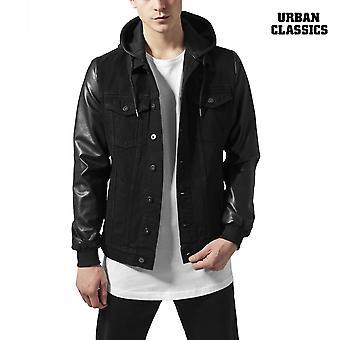 Urban classics chaqueta con capucha mezclilla piel artificial