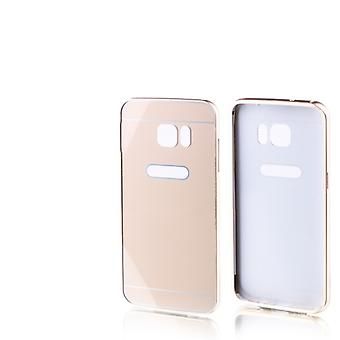 Aluminium bumper 2 pieces with cover gold for Samsung Galaxy S7 edge G935 G935F