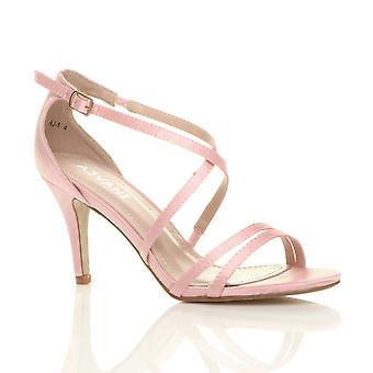 Ajvani womens mid low high heel strappy crossover party wedding bridesmaid prom sandals shoes