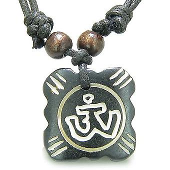 Amulett ursprünglichen tibetischen OM Glücksbringer Tag Gebet natürlichen Knochen Zauberkräften Anhänger Halskette
