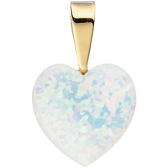 Vedhæng hjerte 333 guld gul guld 1 Opal hjerte vedhæng guld vedhæng