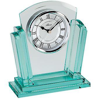 Atlanta 3084 style clock table clock quartz analog silver with glass