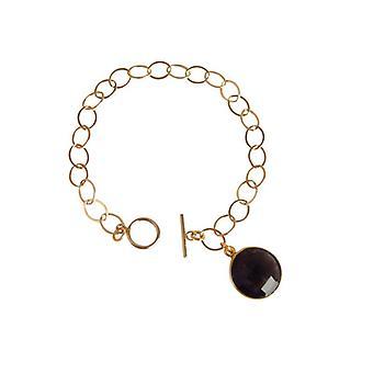 Rökkvarts armband pärla rökkvarts armband guld pläterad