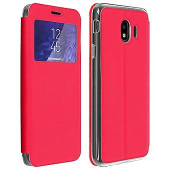 Venster flip case, flip wallet case met standaard voor Samsung Galaxy J4 - rood