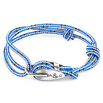 Anchor & Crew Blue Dash Tyne Silver and Rope Bracelet