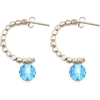 Ladies earrings 925 Silver loop Blau 3 cm