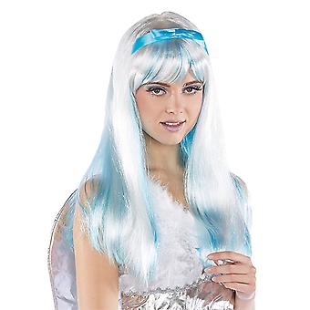 Alissa with adjustable headband white long hair wig light blue Strähnnen accessory