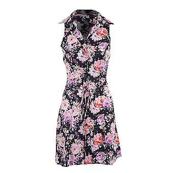 Ladies Sleeveless Rose Floral Summer Tie Back Women's Shirt Dress