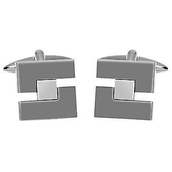 David Van Hagen Shiny Gunmetal Cut Out Square Manschettenknöpfe - Grau/Silber
