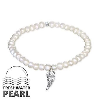 Wing - 925 Sterling Silver + Fresh Water Pearl Chain Bracelets - W29439x