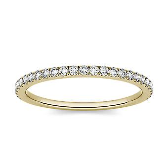 14K Yellow Gold 1.3mm Round Moissanite Wedding Band
