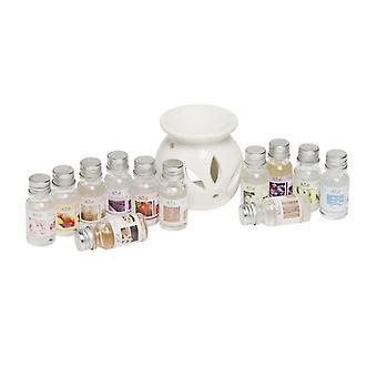 Weiße Keramik Öl Brenner Diffusor mit 12 Set Asst 10 ml Duft Öle Geschenk