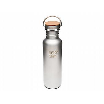 Klean Kanteen Classic Reflect 800ml Bottle with Bamboo Cap (Brush Stainless)