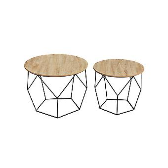 LIFA living® 2 set side table from black metal and a MDF wood plate | Round coffee table with basket function in a geometric vintage style and industrial style. Up to 20kg load capacity