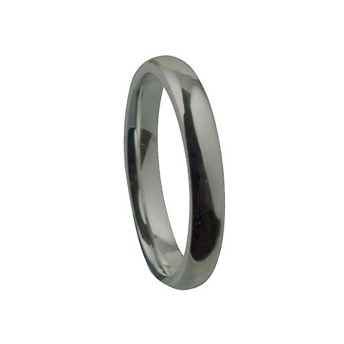 18ct White Gold 3mm plain Court shaped Wedding Ring Size P
