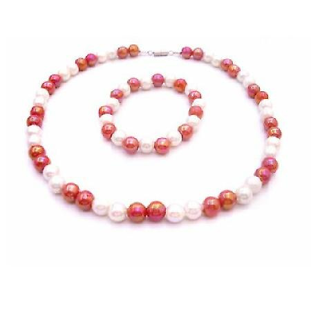 Return Gift Jewelry Under $5 Necklace & Bracelet Red & White Beads