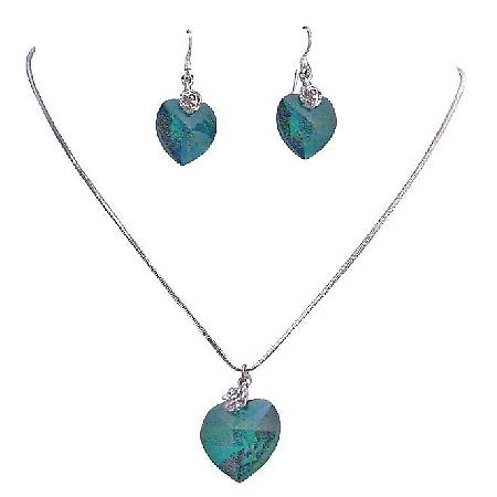 Emerald Heart Romantic Valentine Necklace Earrings Jewelry