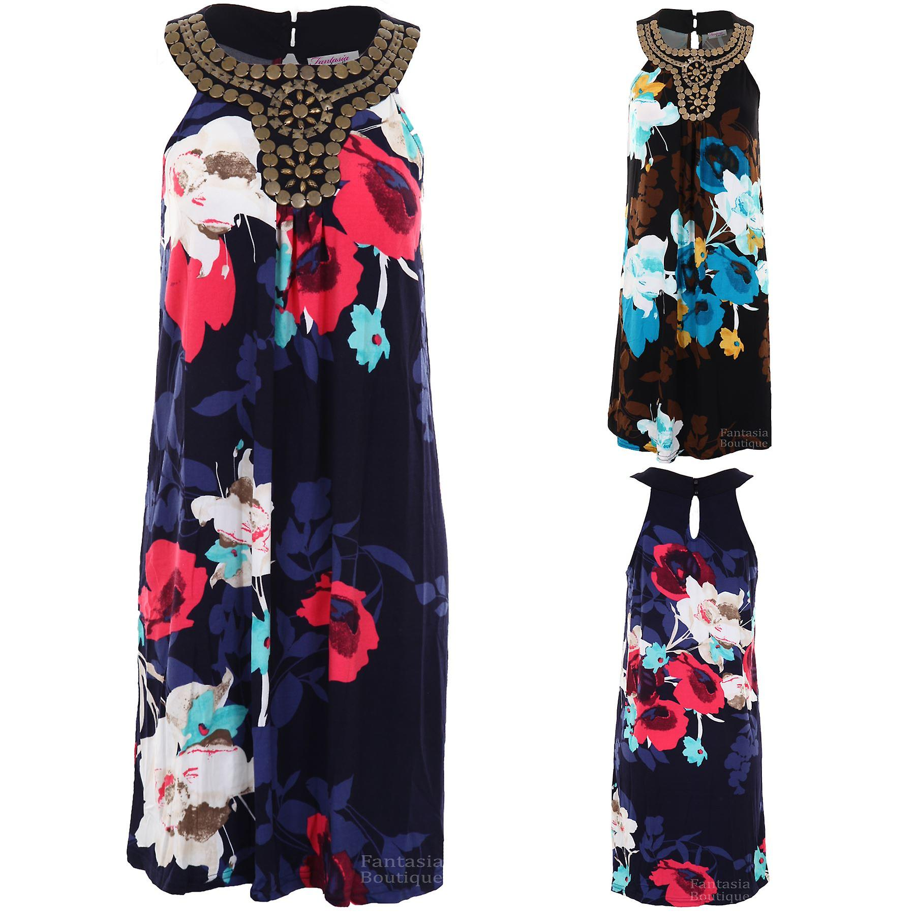 Ladies Sleeveless Floral Print Racerback Gathered Women's Shift Party Dress