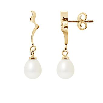 Earrings ears Pendantes pearls of Culture white and yellow gold 375/1000