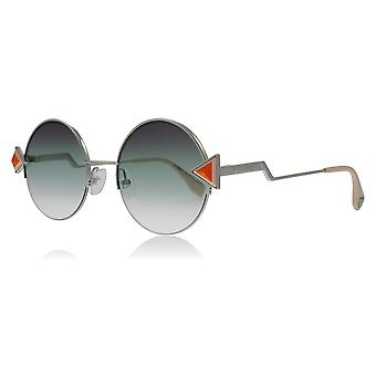 Fendi FF0243/S VGV Silver Green FF0243/S Round Sunglasses Lens Category 2 Size 51mm