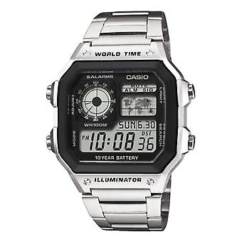 Casio digital watch with stainless steel band AE-1200WHD-1av