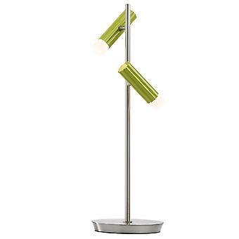 Glasberg - LED tabell lampa justerbar två ljus i Satin Nickel och grön 705030402