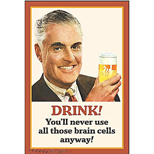 Drink! You'll Never Use All Those Brain Cells Anyway funny fridge magnet  (ep)