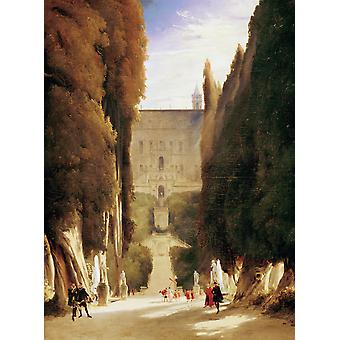 The Gardens of the Villa d-Este,Karl Blechen,50x37cm