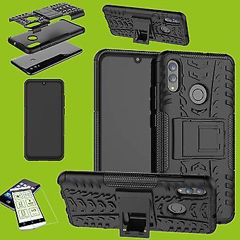 Pour Huawei Y7 et Y7 2019 Pro hybride cas 2 pièce noire + 0,26 mm 2,5 d H9 trempé manchon de verre sac housse Etui
