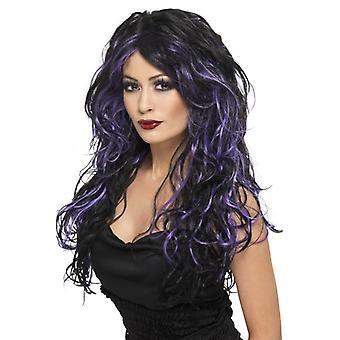 Sposa Halloweenperücke Gothic parrucca nere striature viola