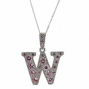 TOC Sterling Silver Pink Rhinestone Set Initial 'W' Pendant Necklace 18
