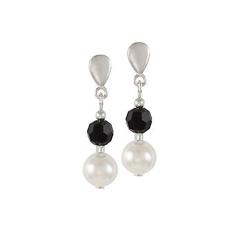 Eternal Collection Romanza White Shell Pearl And Black Austrian Crystal Drop Pierced Earrings