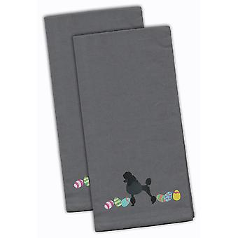 Poodle Easter Gray Embroidered Kitchen Towel Set of 2