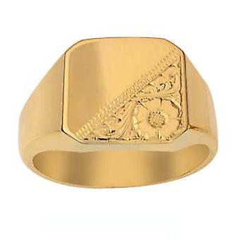 9ct goud 15x15mm hand gegraveerde kussen heren Signet ringmaat R