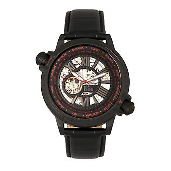 Reign Thanos Automatic Leather-Band Watch - Black/Red