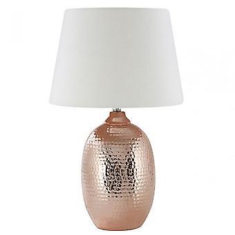 Premier Home Jane Table Lamp, Ceramic, Mixed Plant Fibre, Copper