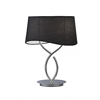 Mantra Ninette Table Lamp 2 Light E14 Large, Polished Chrome With Black Shade