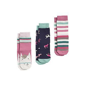 Joules Brilliant Bamboo Girls 3 Pck Socks - Multi Horse