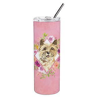 Cairn Terrier Fiori Rosa Doppia Murata In acciaio Inossidabile 20 oz Skinny Tumbler