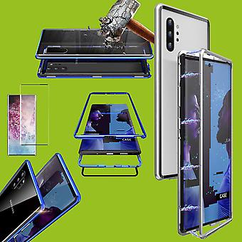 Para Samsung Galaxy Note 10 N970F Magnet/metal/vidro caso caso prata/transparente + 0.3 mm H9 4D Full curvo temperado vidro duro