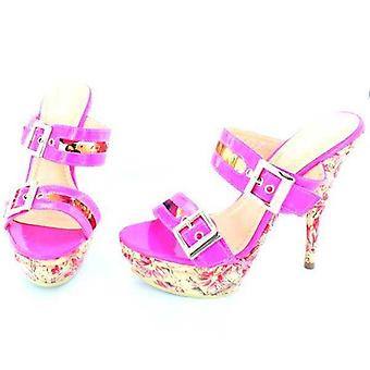 Women's shoes lacquered sandals Pink Neon