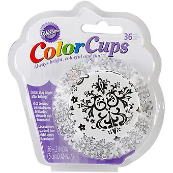 Standard Baking Cups Black And White Damask 36 Pkg W2352