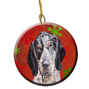 Blue Tick Coonhound Red Snowflakes Holiday Ceramic Ornament SC9745CO1