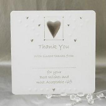 Luxury Wedding Thank You Cards - Pack of 10 - White & Silver